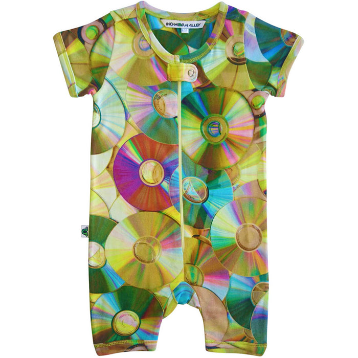 Short sleeve romper with a life-size print of scattered compact discs in vivid color