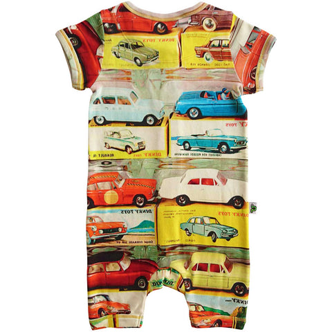 Short sleeve romper with an overall print of classic vintage dinky cars