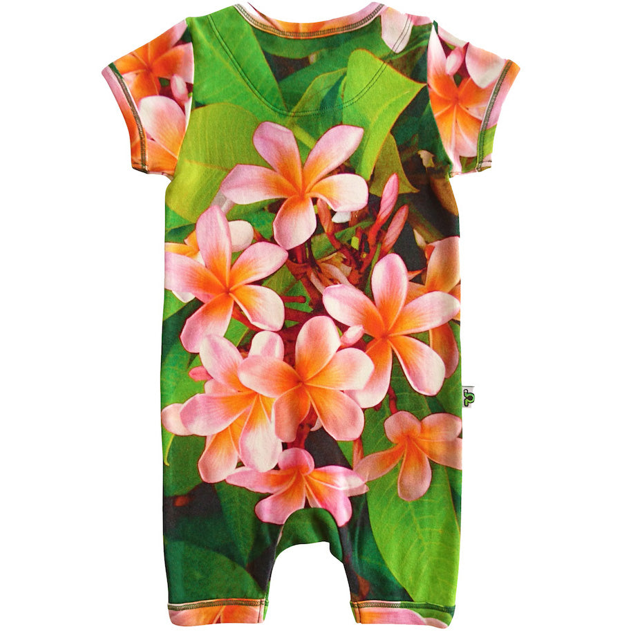 Short sleeve romper with a print of beautiful, pink jasmine or frangipani flowers