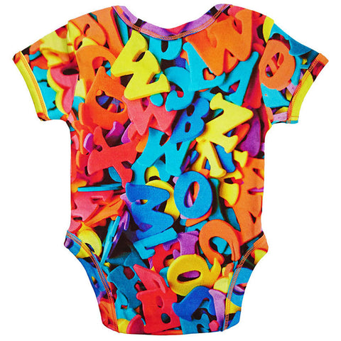 Back view of short sleeve bodysuit with a colourful all-over print of foam alphabet letters