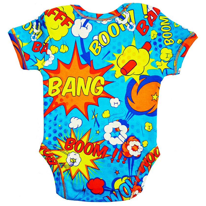 Back view of a short sleeve bodysuit with a colourful all-over print of comic bubbles