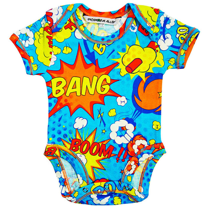 Front view of a short sleeve bodysuit with a colourful all-over print of comic bubbles