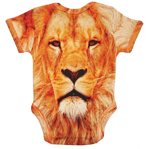 Back view of a short sleeve bodysuit printed with a portrait of a lion