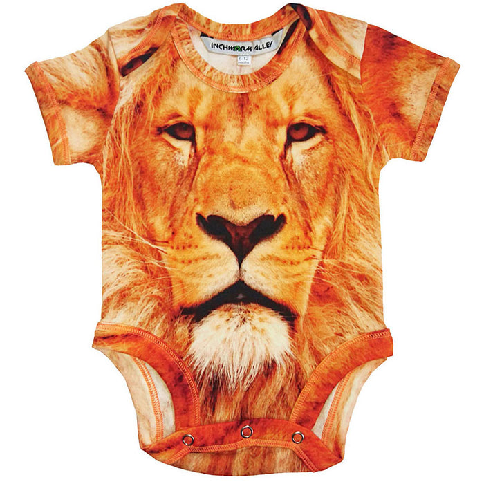 Front view of a short sleeve bodysuit printed with a portrait of a lion