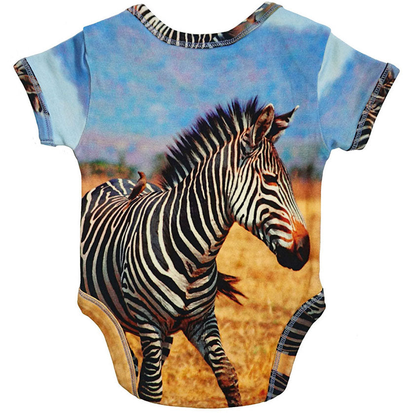 Back view of a short sleeve bodysuit printed with an image of a zebra
