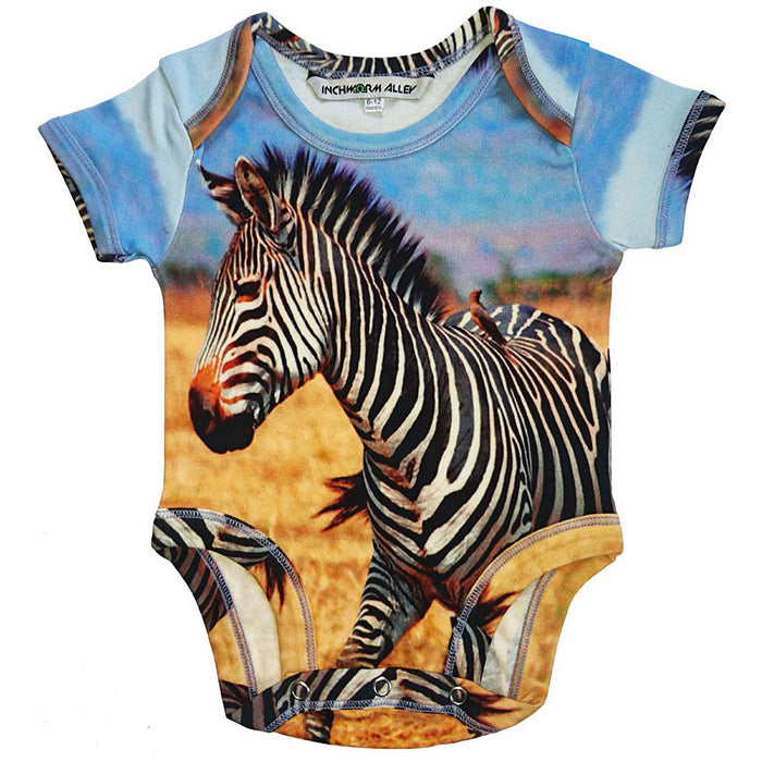 Front view of a short sleeve bodysuit printed with an image of a zebra