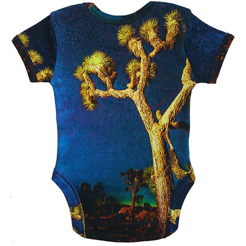 Back view of a short sleeve bodysuit with the image of a Joshua Tree
