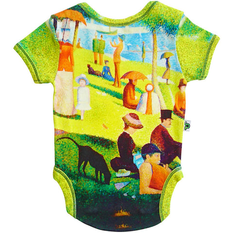 Short sleeve bodysuit onesie printed with an image of George Seurat's painting A Sunday Afternoon on the Island of La Grande Jatte
