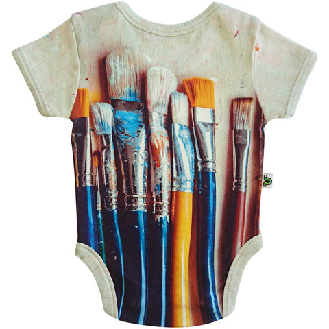 Short sleeve bodysuit onesie printed with a large-scale image of different artist's paintbrushes