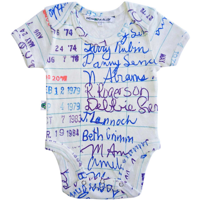Short sleeve bodysuit onesie printed with a large-scale image of a retro library card intended for signing out books