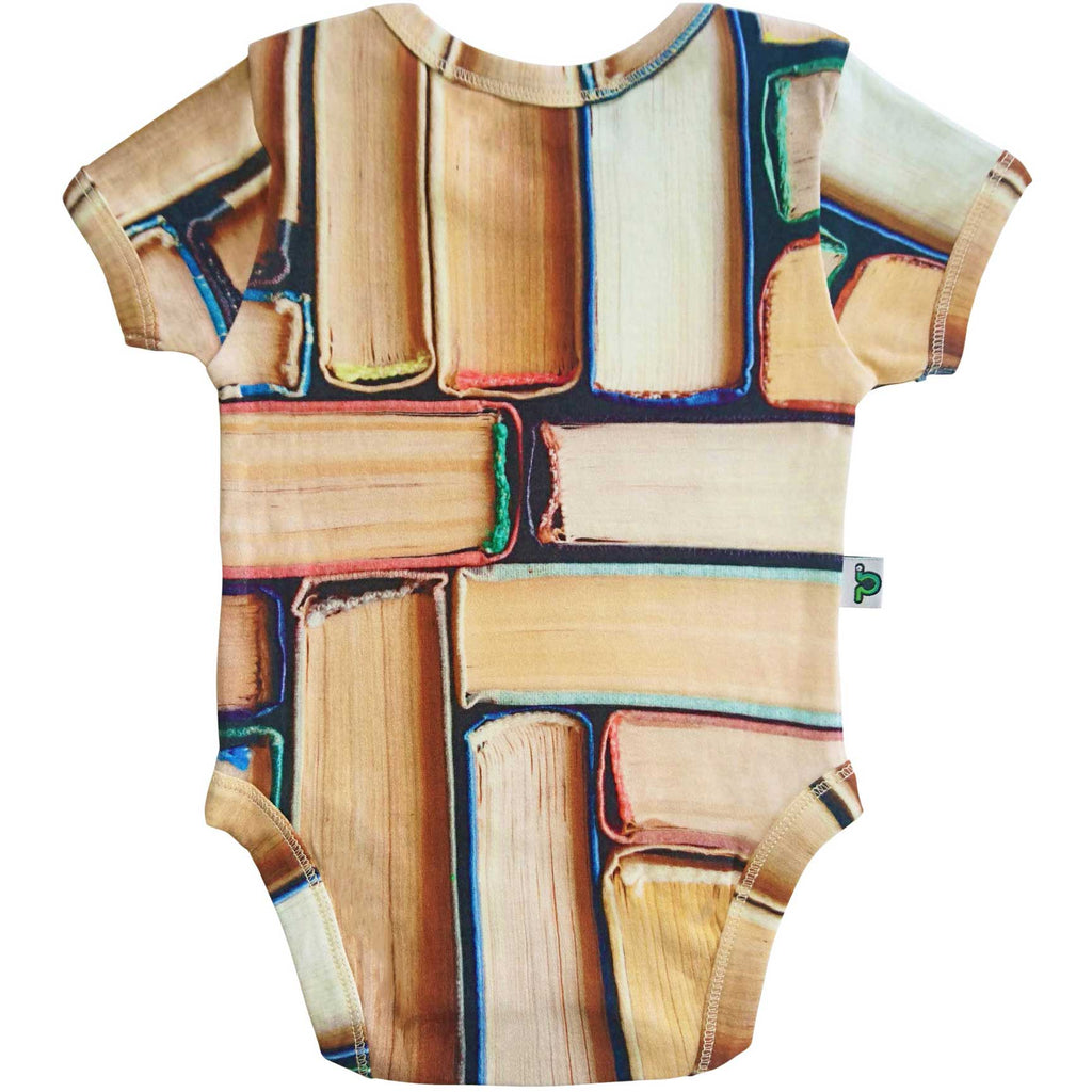Short sleeve bodysuit onesie printed with a large-scale image of a book shelf