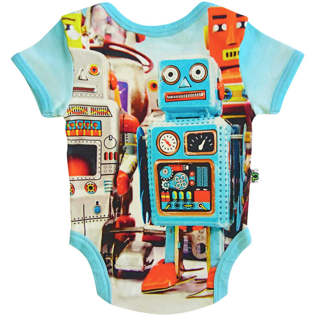 Short sleeve bodysuit onesie printed with some colorful vintage tin toy robots