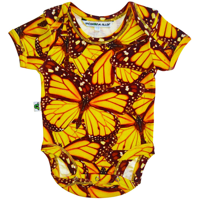 Short sleeve bodysuit onesie with an all-over print of a collage of monarch butterflies