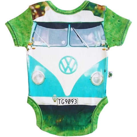 Short sleeve bodysuit onesie printed with an image of a turquoise colored VW split-window bus