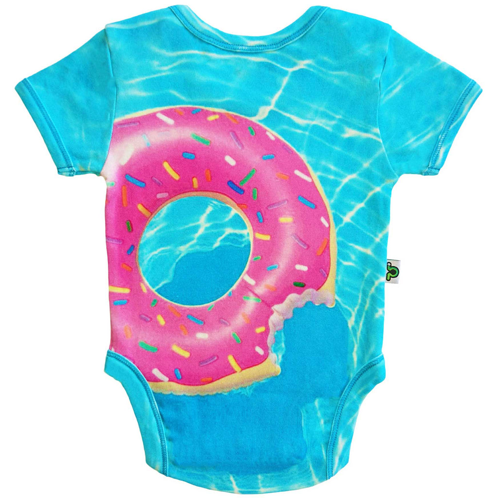 Short sleeve bodysuit onesie printed with an image of an inflatable pool floatie shaped like a pink donut with sprinkles in a swimming pool