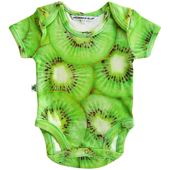Short sleeve bodysuit onesie with an all-over print of an image of large-scale kiwi slices
