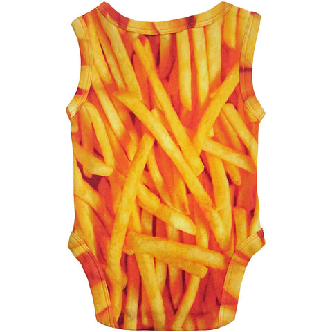 Back view of a tank bodysuit with an all-over print of french fries
