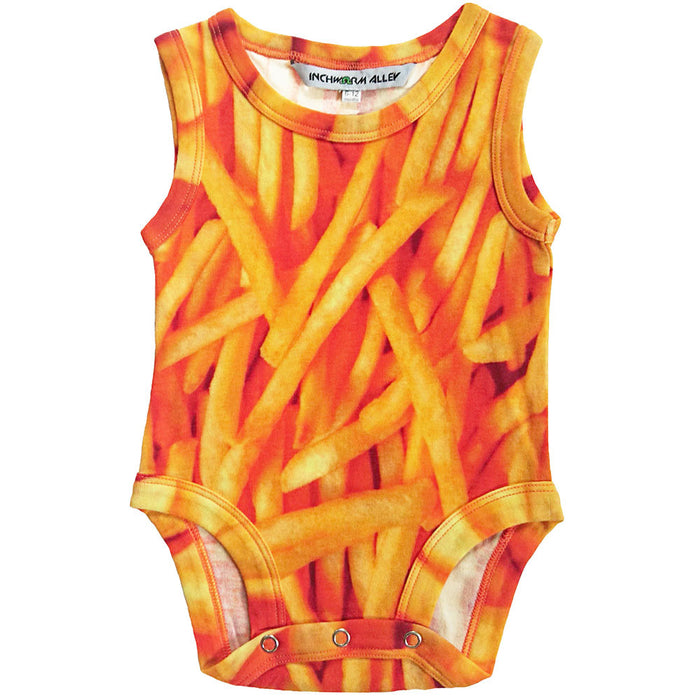 Front view of a tank bodysuit with an all-over print of french fries