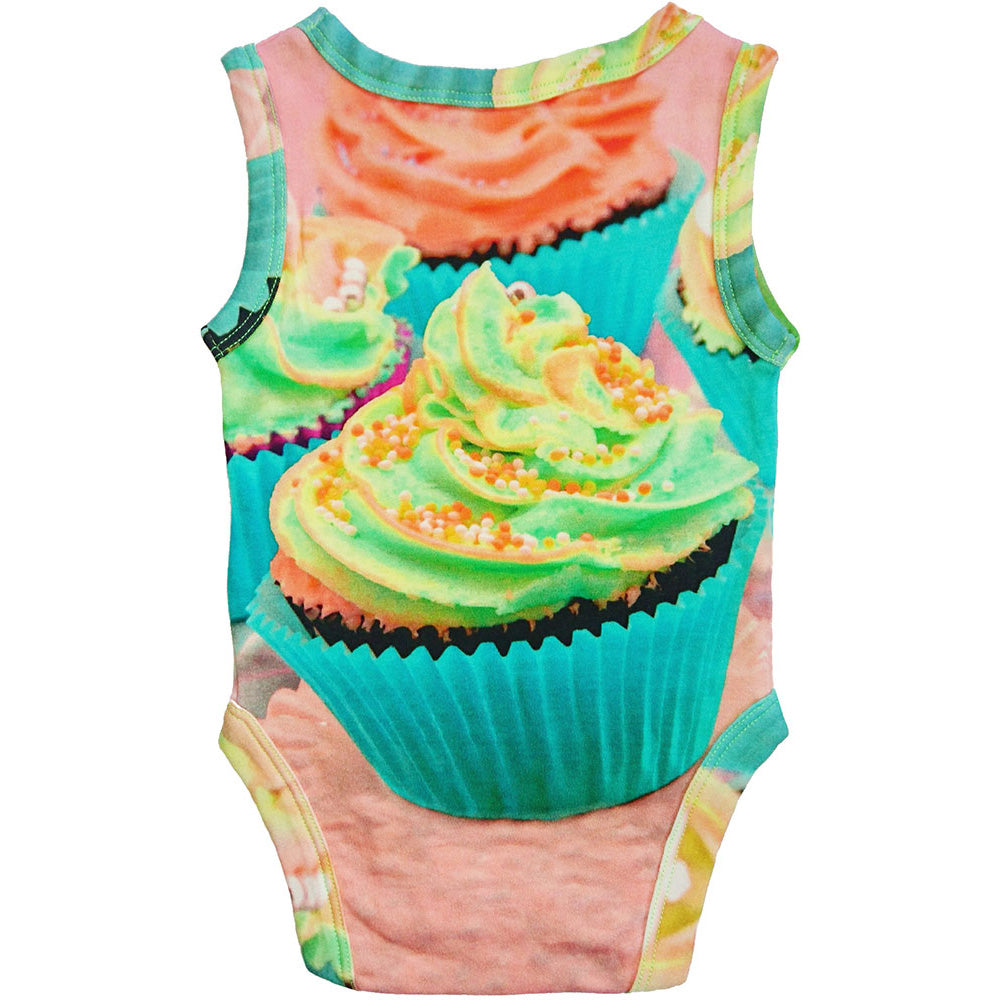 Back view of tank bodysuit with an image of a frosted cupcake with sprinkles