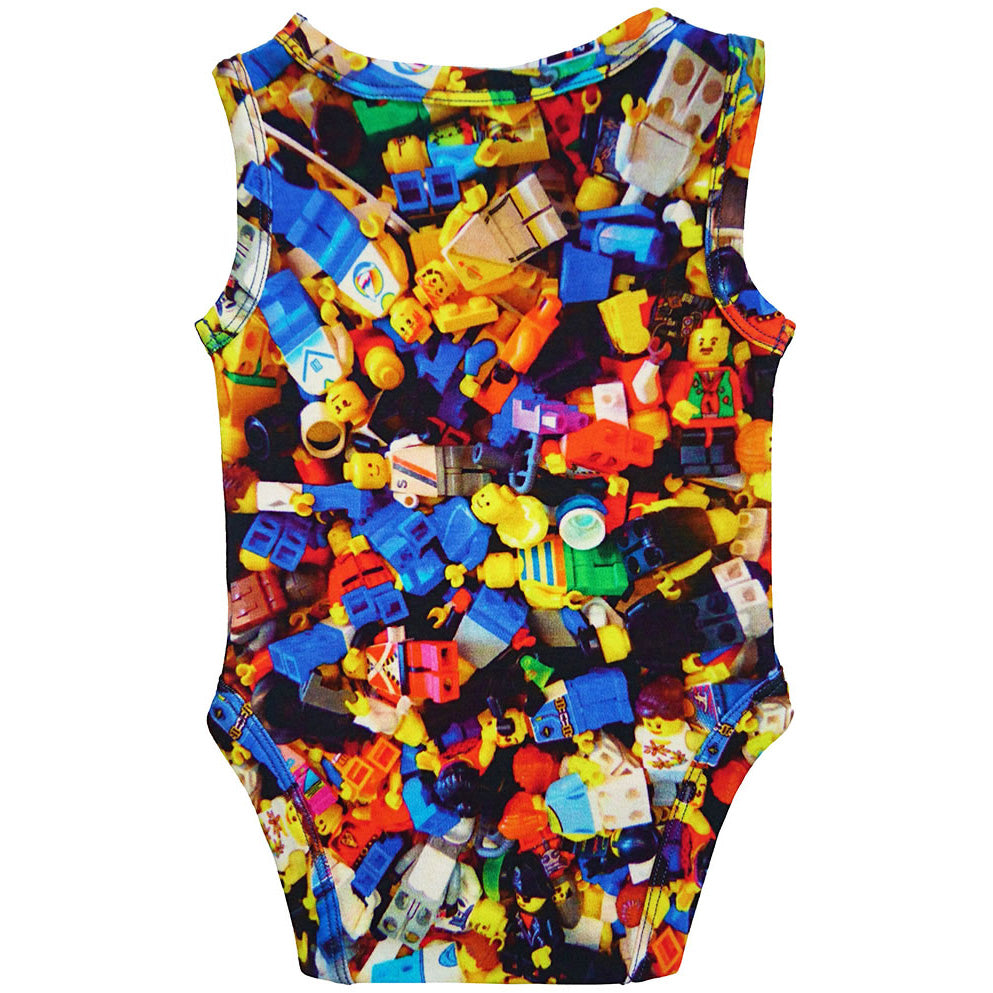 Back view of a tank bodysuit with an all-over print of Lego people figurines