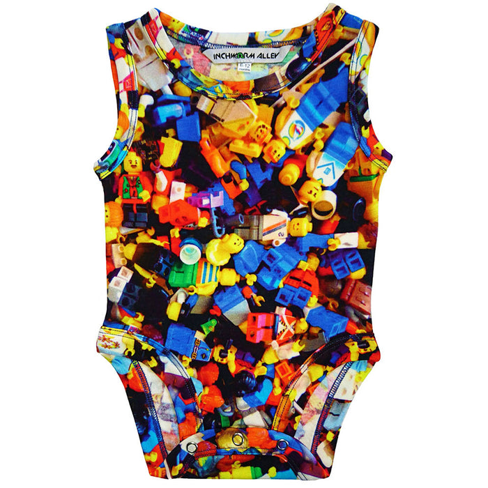 Front view of a tank bodysuit with an all-over print of Lego people figurines