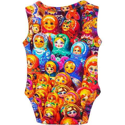 Back view of a tank bodysuit with an all-over print for Matryoshka or Russian nesting dolls