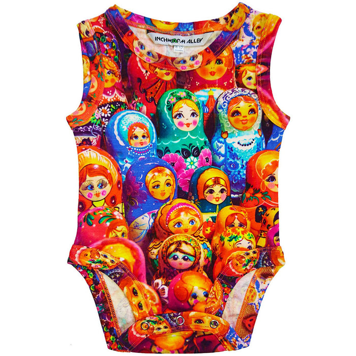 Front view of a tank bodysuit with an all-over print for Matryoshka or Russian nesting dolls