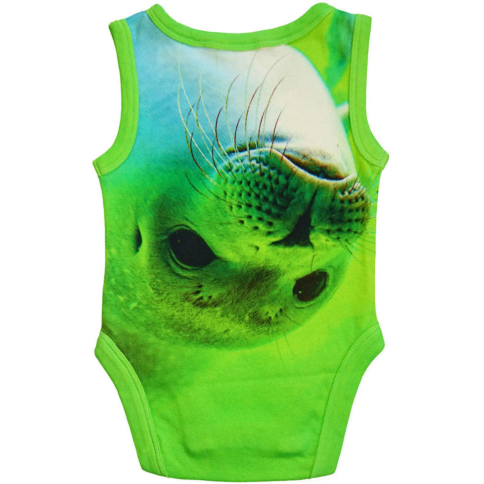 Back view of a tank bodysuit with the image of a seal pup