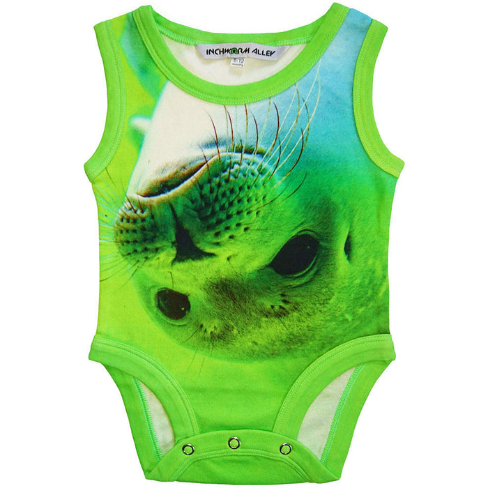 Front view of a tank bodysuit with the image of a seal pup