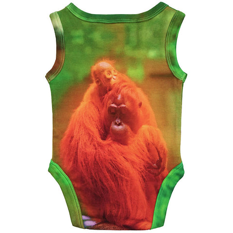 Back view of tank bodysuit with an image of a mama and baby orangutan cuddling