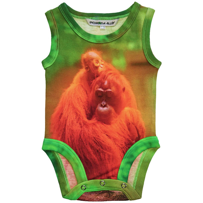 Front view of tank bodysuit with an image of a mama and baby orangutan cuddling