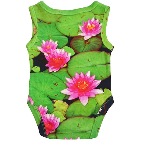 Back view of a tank bodysuit with an all-over print of water lilies