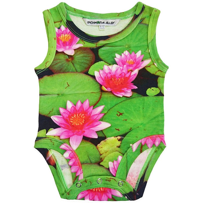 Front view of a tank bodysuit with an all-over print of water lilies