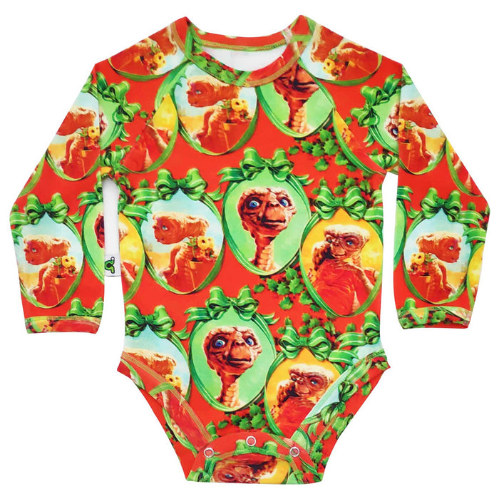Raglan bodysuit onesie with all-over print of vintage Christmas wrapping paper featuring E.T.