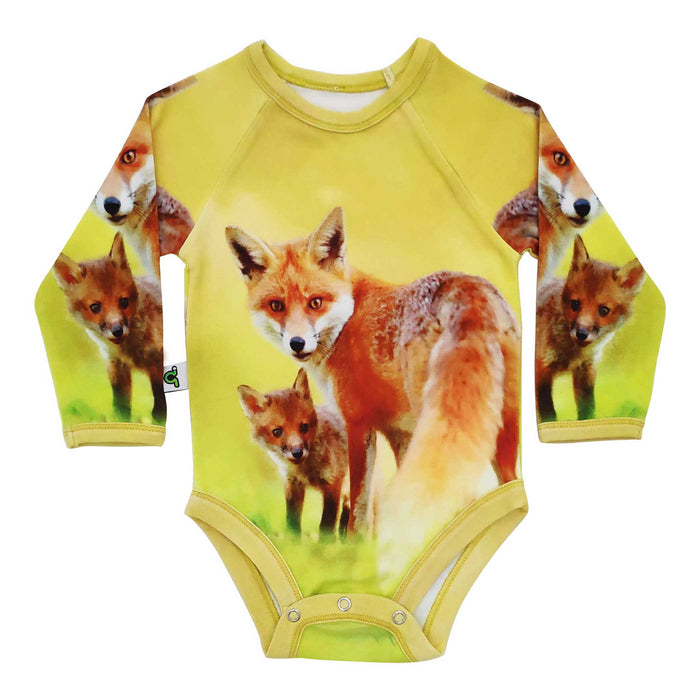 Raglan bodysuit with image of a fox and kit