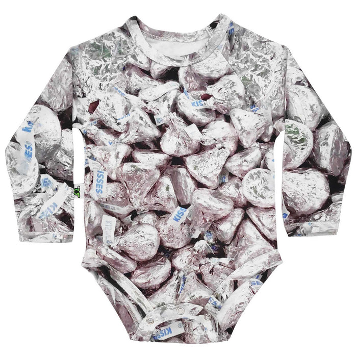 Raglan bodysuit onesie with all-over print of Hershey's Kisses chocolates