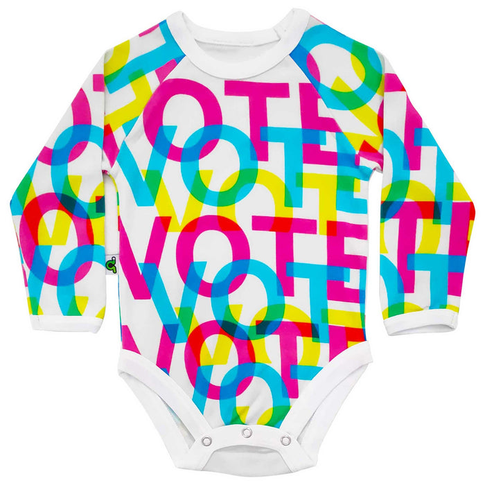 "Raglan bodysuit onesie with colourful print of the repeated word ""VOTE"" overlapped over one another"