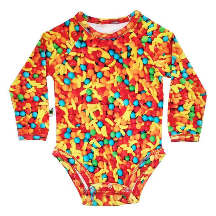 Raglan bodysuit onesie with all-over image of Runts candy