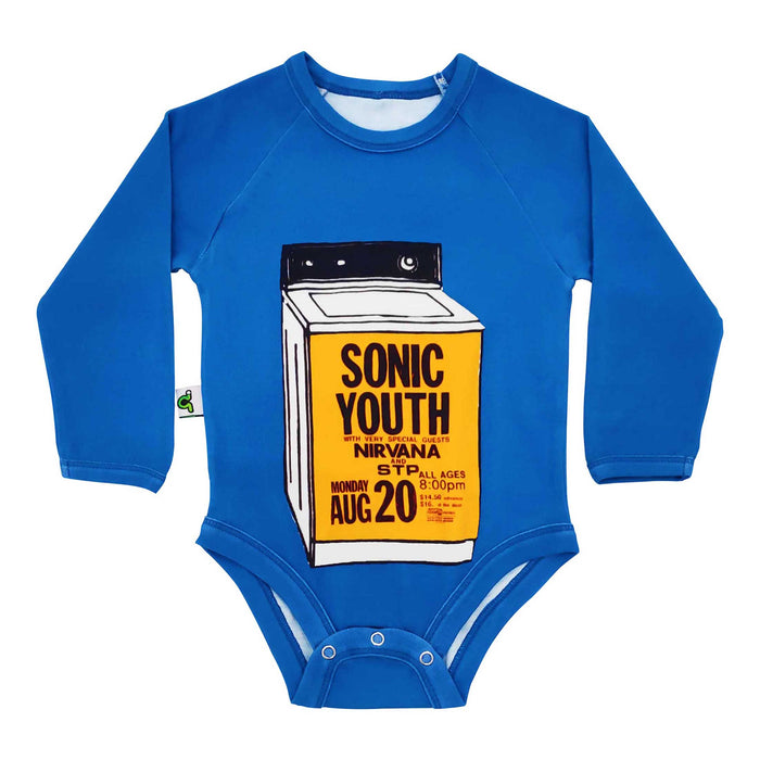 Raglan bodysuit onesie with image of a vintage Sonic Youth concert flyer