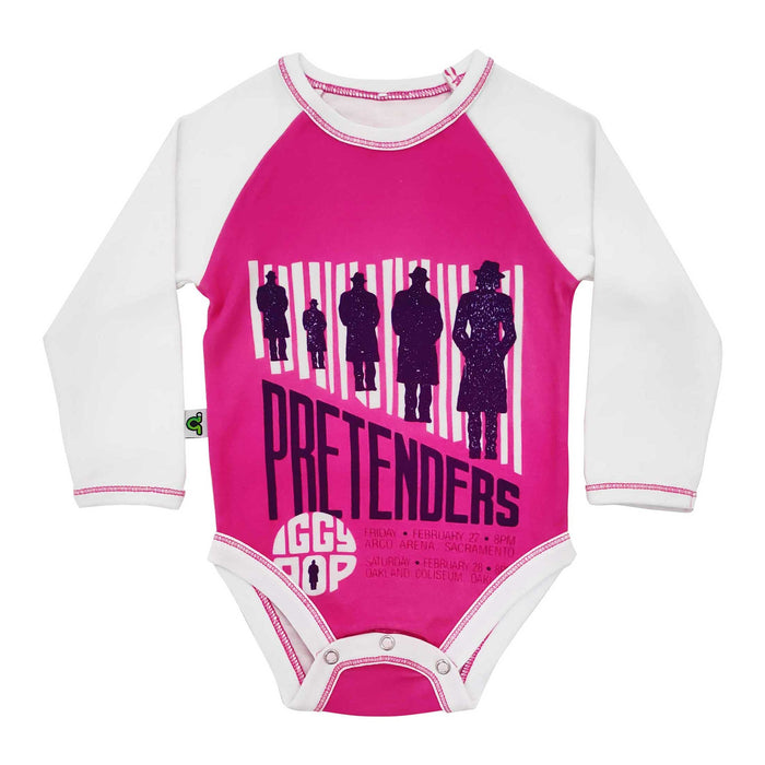 Raglan bodysuit onesie with image of vintage concert flyer for The Pretenders and Iggy Pop
