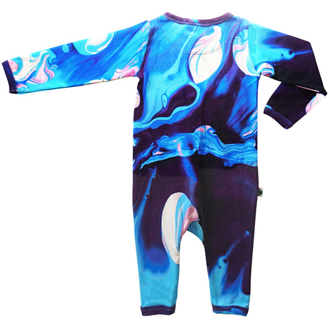 Long sleeve, full leg romper coverall with print of oil painting in blue, indigo, pink and white