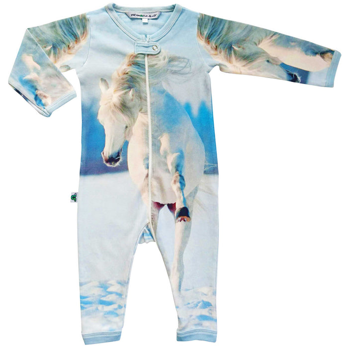 Long sleeve, full leg romper coverall printed with a white, galloping wild horse in the snow