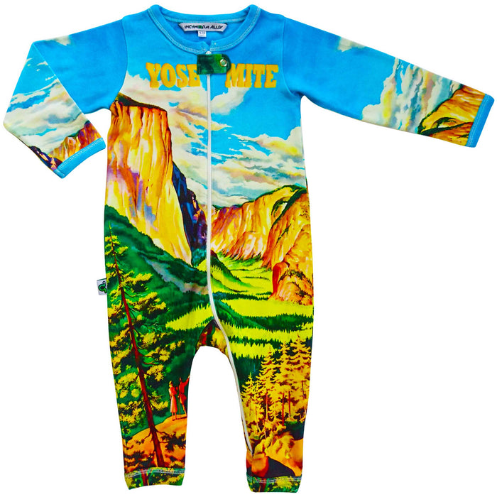 Long sleeve, full leg romper coverall with print of vintage travel poster depicting an illustration of Yosemite National Park