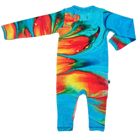 Long sleeve, full leg romper onesie with a print of turquoise, red, orange and yellow paintbrush strokes