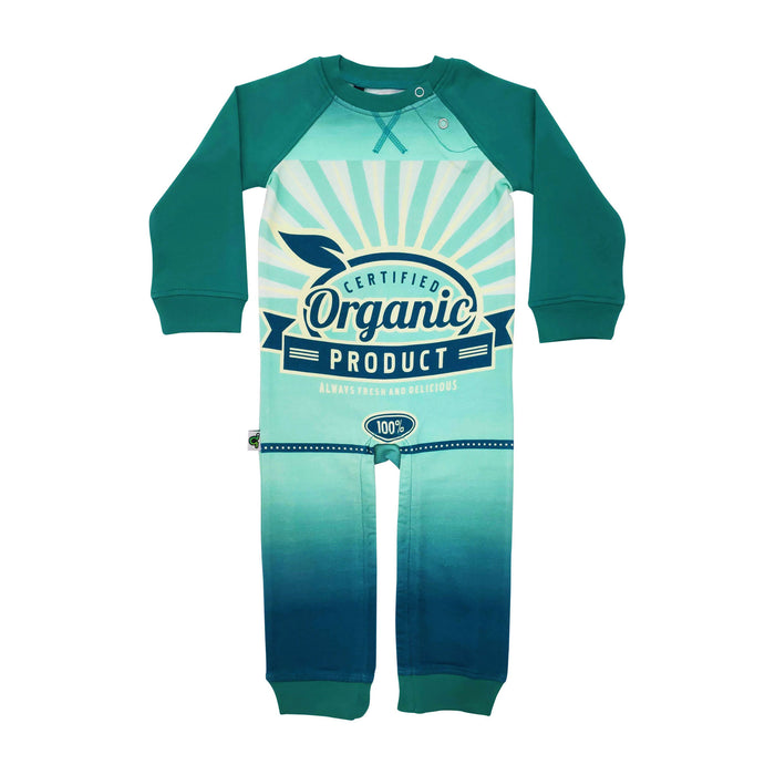 "Full sleeve raglan romper with retro print of a vintage label that reads ""Certified Organic"""