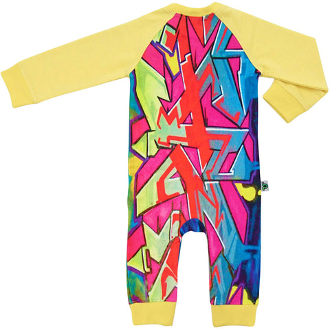 Raglan romper with a multicolored graffiti print