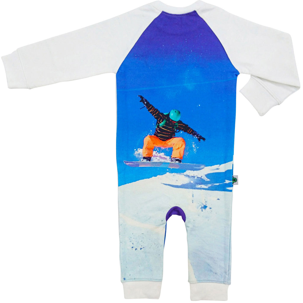 Raglan romper with a snowboarder catching air on a hill