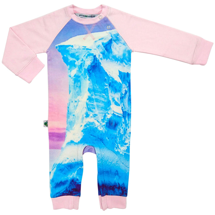 Raglan romper printed with an enormous floating iceberg