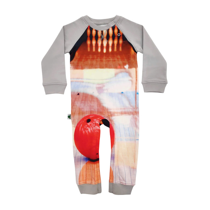 Full sleeve raglan romper with print of a bright red bowling ball rolling down a lane towards 10 pins
