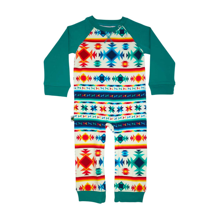 Full sleeve raglan romper with all-over print of southwest-style pattern in multicolors